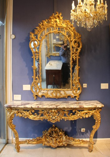 Giltwood Mirror of Regence period - Mirrors, Trumeau Style French Regence