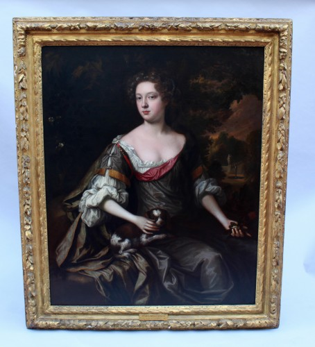 Portrait of an elegant Englishwoman from the second half of 17th century - Paintings & Drawings Style Louis XIII