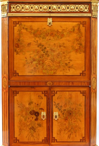 Secretary In Marquetry Of Flowers Louis XVI Stamped C. Topino - Furniture Style Louis XVI