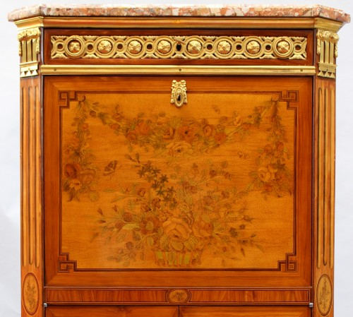 Furniture  - Secretary In Marquetry Of Flowers Louis XVI Stamped C. Topino
