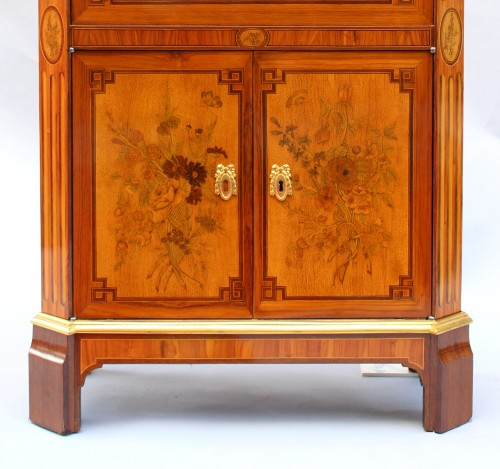 Secretary In Marquetry Of Flowers Louis XVI Stamped C. Topino -