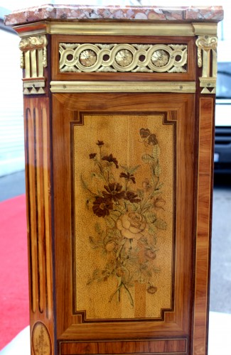 Louis XVI - Secretary In Marquetry Of Flowers Louis XVI Stamped C. Topino