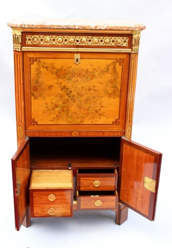 Antiquités - Secretary In Marquetry Of Flowers Louis XVI Stamped C. Topino