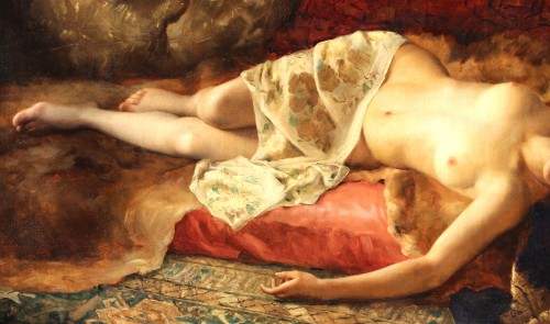 Woman Lying - Pierre Joseph Mousset (1850-1894) - Paintings & Drawings Style