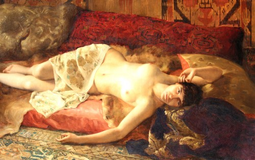 Paintings & Drawings  - Woman Lying - Pierre Joseph Mousset (1850-1894)