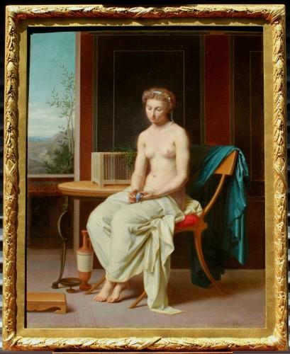 Portrait The woman with the blue bird - Désiré Philippe 1860