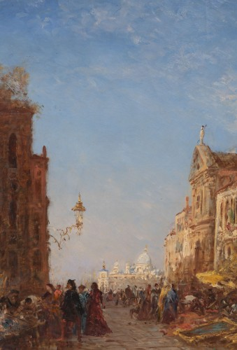 Paintings & Drawings  - The antique market in Venice, - Félix Ziem (1821–1911)