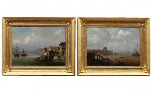 Pair of large marine paintings of the late nineteenth Dutch school.