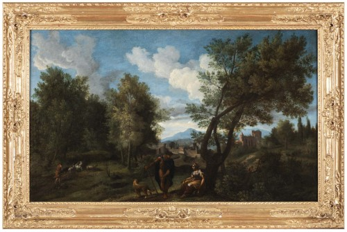 Landscape in the antique of the late 17th,early 18th attributed Van Bloemen