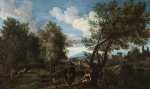 Landscape in the antique of the late 17th,early 18th attributed Van Bloemen - Paintings & Drawings Style Louis XIV