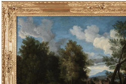 Landscape in the antique of the late 17th,early 18th attributed Van Bloemen -