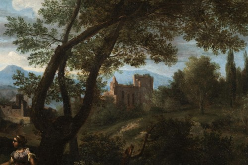 17th century - Landscape in the antique of the late 17th,early 18th attributed Van Bloemen