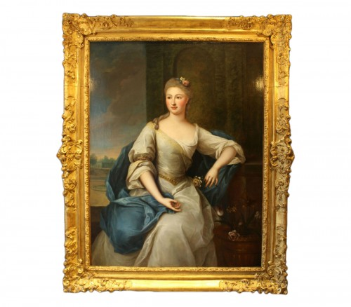 Portrait of the eighteenth century in Louis XV frame attributed P.Gobert