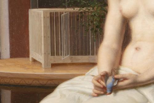 Portrait The woman with the blue bird - Désiré Philippe 1860 -