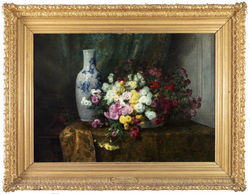 Still life with flowers and Chinese vase - Furcy de Lavault (1847-1915)