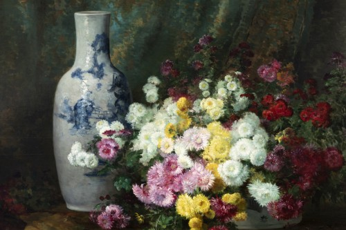 Still life with flowers and Chinese vase - Furcy de Lavault (1847-1915) - Paintings & Drawings Style Napoléon III