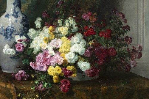 Still life with flowers and Chinese vase - Furcy de Lavault (1847-1915) -