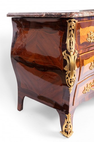 Louis XV - Louis XV Commode In Marquetry Stamped By Jc Ellaume