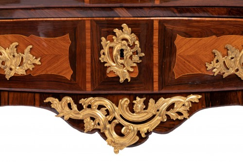 Antiquités - Louis XV Commode In Marquetry Stamped By Jc Ellaume