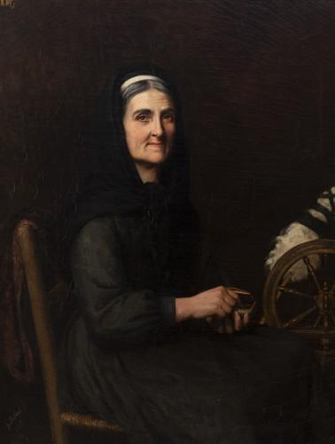 "Portrait ""I have good tobacco in my snuffbox"" - Yolande de la Rochefoucauld - Paintings & Drawings Style Napoléon III"