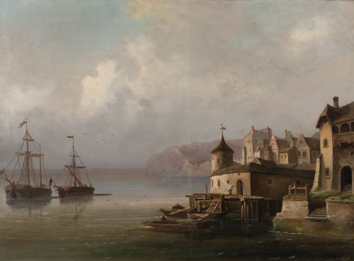 Napoléon III - Pair of large marine paintings of the late nineteenth Dutch school.