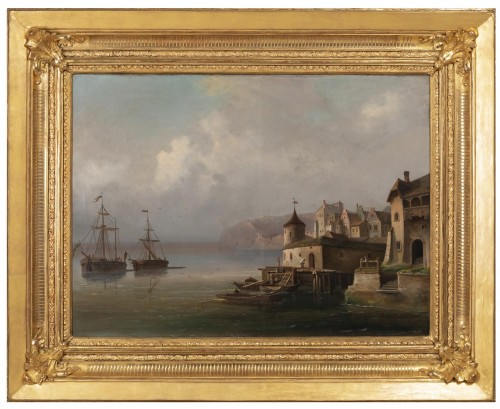 Antiquités - Pair of large marine paintings of the late nineteenth Dutch school.