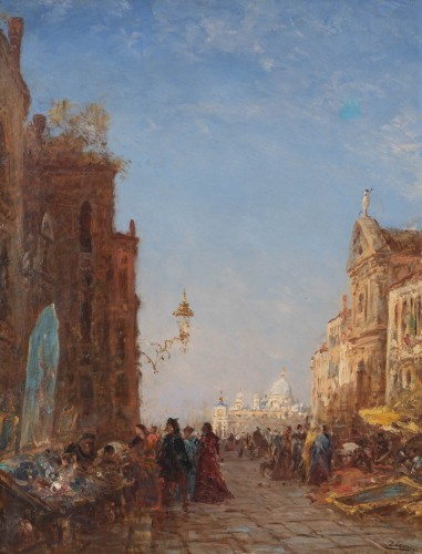 The antique market in Venice, - Félix Ziem (1821–1911)   - Paintings & Drawings Style Napoléon III