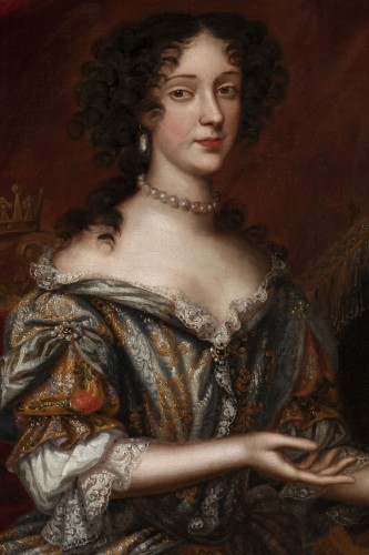Antiquités - Portrait 17th century, princess Marie Beatrice Eléonore Isabel d'Este