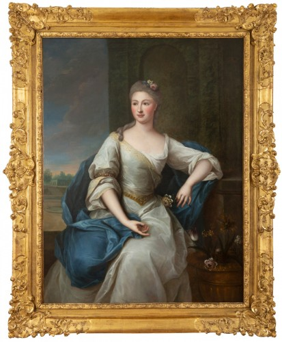 Portrait of the 18th century in Louis XV frame attributed Pierre Gobert