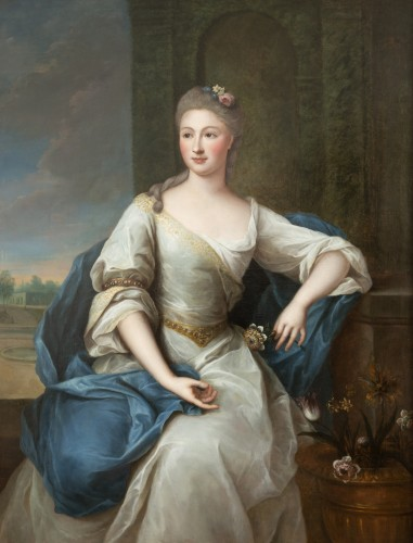 Paintings & Drawings  - Portrait of the 18th century in Louis XV frame attributed Pierre Gobert