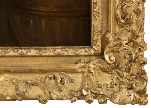 Louis XV - Portrait of the 18th century in Louis XV frame attributed Pierre Gobert