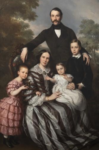 Louis Krevel, Portrait de famille, d'Emil Albano Korte et de sa famille, vers 1856 - Paintings & Drawings Style Napoléon III