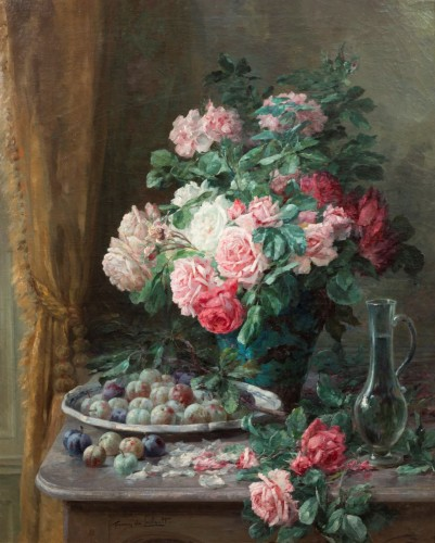 Furcy de Lavault (1847-1915) - Still life of roses and plums - Paintings & Drawings Style Napoléon III