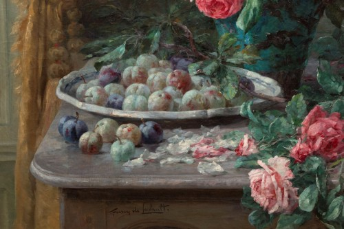 Paintings & Drawings  -  Furcy de Lavault (1847-1915) - Still life of roses and plums