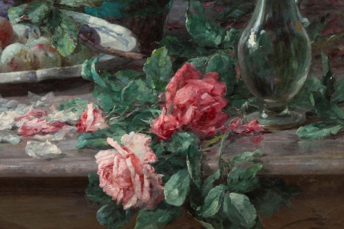 19th century -  Furcy de Lavault (1847-1915) - Still life of roses and plums