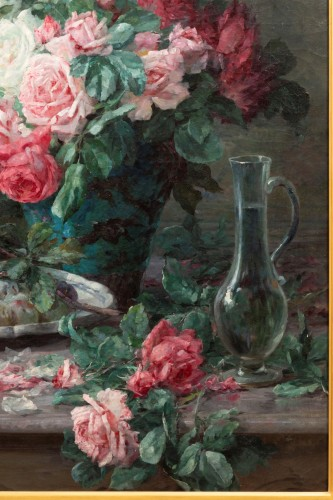 Furcy de Lavault (1847-1915) - Still life of roses and plums - Napoléon III