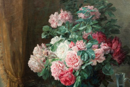 Antiquités -  Furcy de Lavault (1847-1915) - Still life of roses and plums