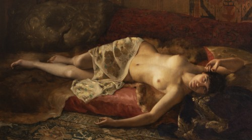 Portrait of a woman lying - Pierre Joseph Mousset (1850-1894) - Paintings & Drawings Style Napoléon III