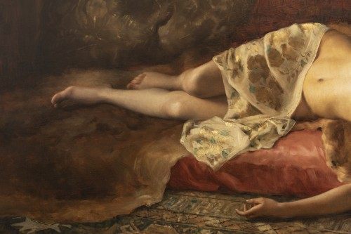 Paintings & Drawings  - Portrait of a woman lying - Pierre Joseph Mousset (1850-1894)