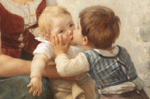 Paintings & Drawings  - he Kiss -  Timoléon Marie Lobrichon (1831-1914)