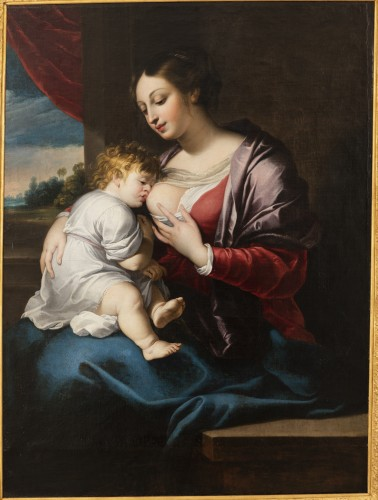 Portrait of the virgin with the child, around 1675. - Paintings & Drawings Style Louis XIV