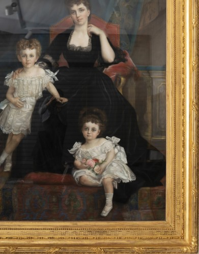 Pastel - Family portrait of the Duchess of Lyunes  - Monogram C.C 1877 - Paintings & Drawings Style