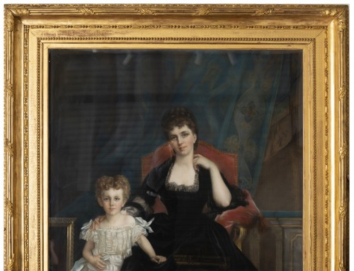 Paintings & Drawings  - Family portrait of the Duchess of Lyunes and Chevreuse - Monogram C.C 1877