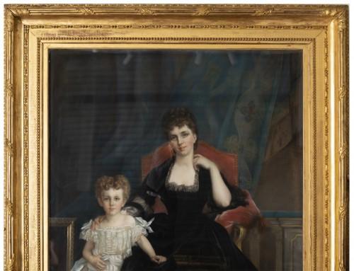 Paintings & Drawings  - Pastel - Family portrait of the Duchess of Lyunes  - Monogram C.C 1877