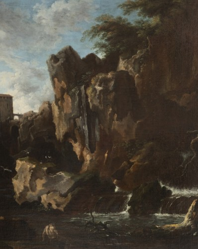 View of the waterfalls of Tivoli - Circle of Claude Joseph Vernet  -