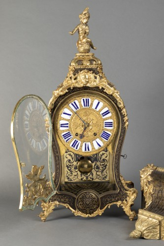 Louis XV - Cartel and its console of applique of the beginning of the time Louis XV