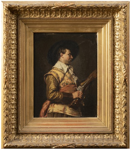 Ferdinand ROYBET - Portrait of a musketeer with an arquebus