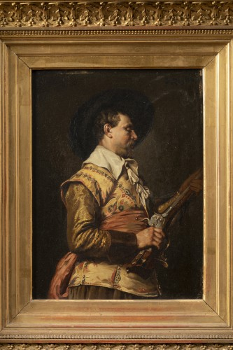 Ferdinand ROYBET - Portrait of a musketeer with an arquebus - Paintings & Drawings Style