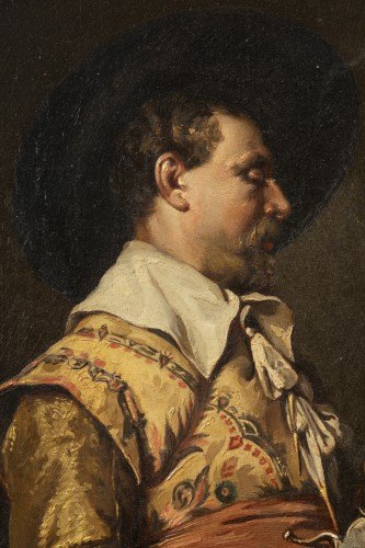 Paintings & Drawings  - Ferdinand ROYBET - Portrait of a musketeer with an arquebus