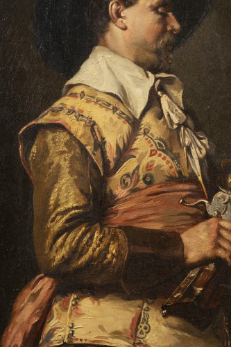 Ferdinand ROYBET - Portrait of a musketeer with an arquebus -